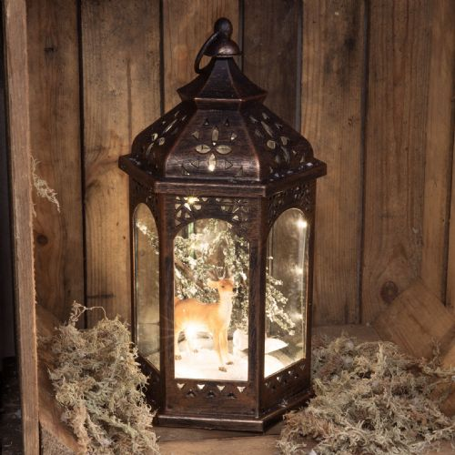 Reindeer Christmas Lantern Ornament - Aged Metal Effect Light Up Lantern with Woodland Scene